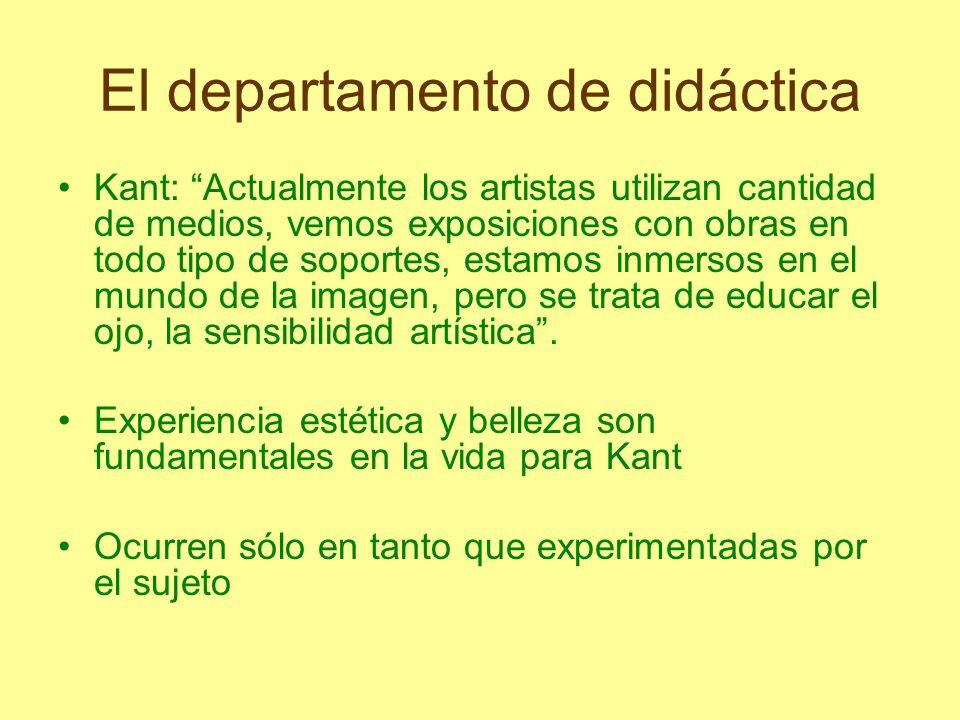 El departamento de didáctica Kant: Actualmente los artistas utilizan cantidad de medios, vemos exposiciones con obras en todo tipo de soportes, estamo