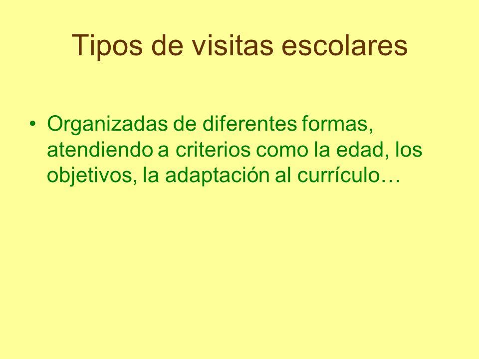 Tipos de visitas escolares Organizadas de diferentes formas, atendiendo a criterios como la edad, los objetivos, la adaptación al currículo…