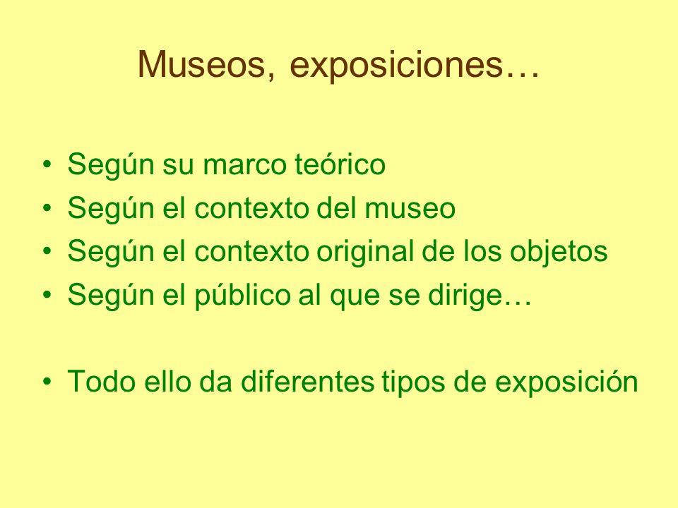 Museos, exposiciones… Según su marco teórico Según el contexto del museo Según el contexto original de los objetos Según el público al que se dirige…