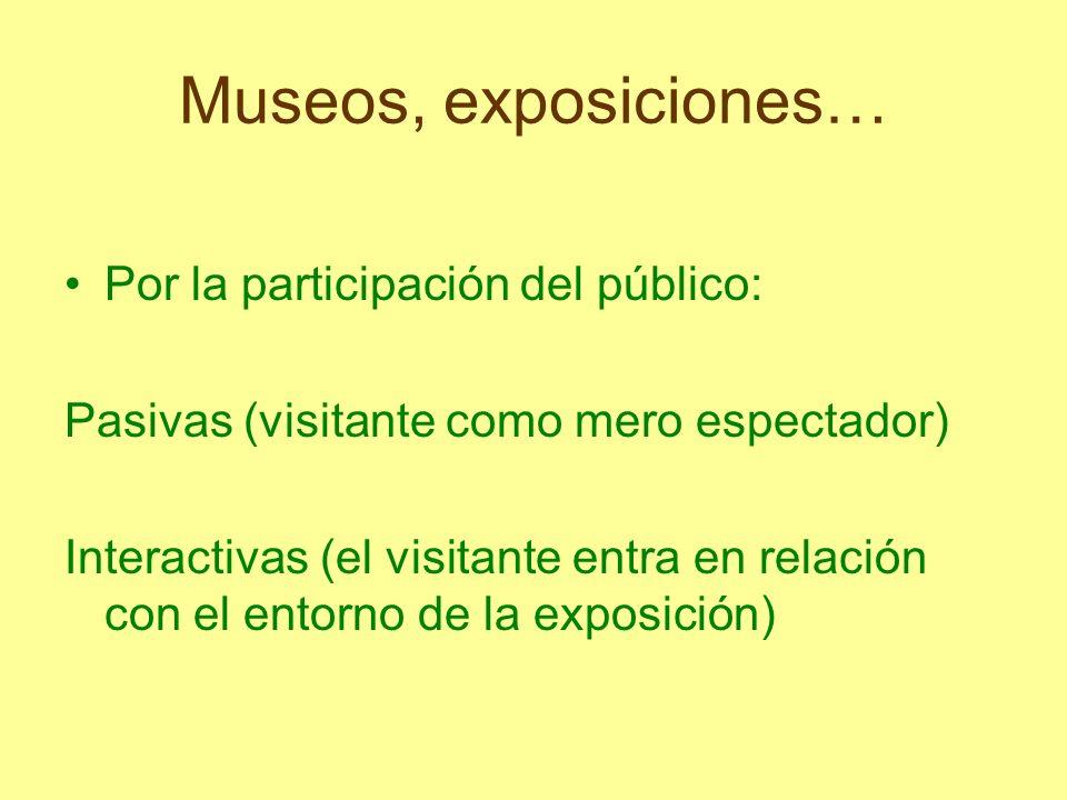 Museos, exposiciones… Por la participación del público: Pasivas (visitante como mero espectador) Interactivas (el visitante entra en relación con el e