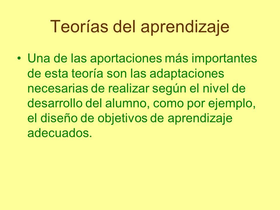 Teorías del aprendizaje Una de las aportaciones más importantes de esta teoría son las adaptaciones necesarias de realizar según el nivel de desarroll