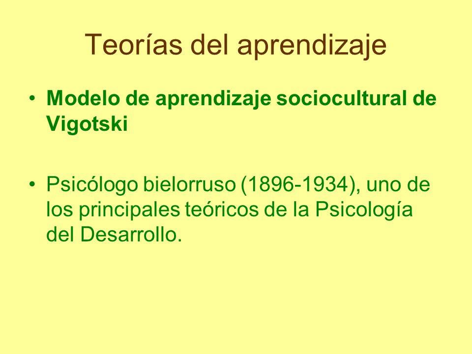 Teorías del aprendizaje Modelo de aprendizaje sociocultural de Vigotski Psicólogo bielorruso (1896-1934), uno de los principales teóricos de la Psicol