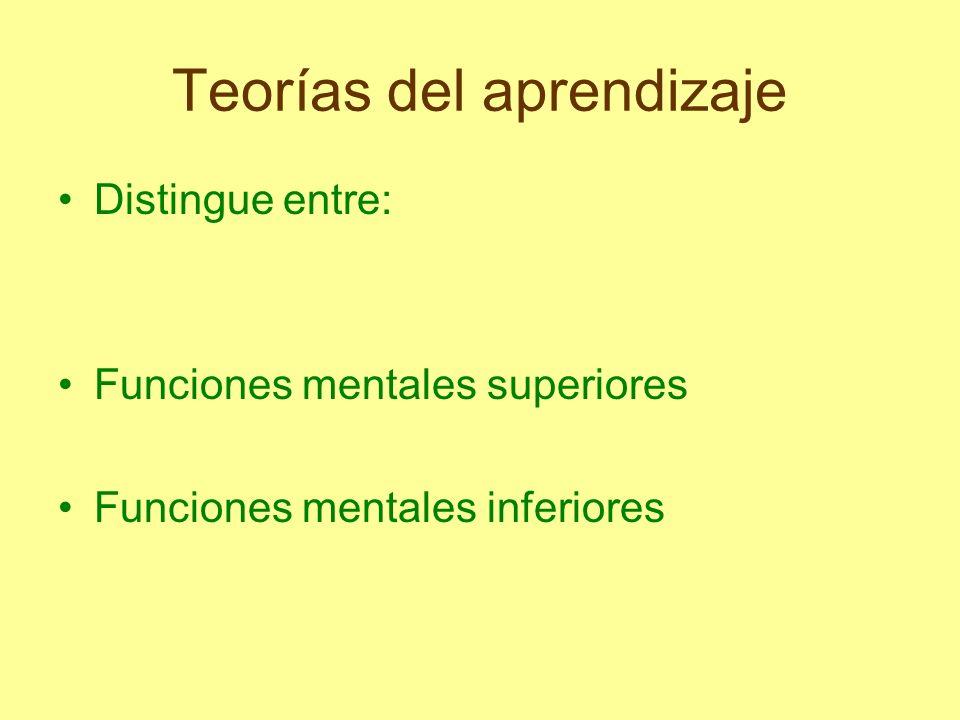 Teorías del aprendizaje Distingue entre: Funciones mentales superiores Funciones mentales inferiores
