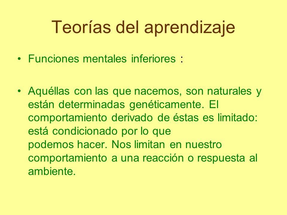 Teorías del aprendizaje Funciones mentales inferiores : Aquéllas con las que nacemos, son naturales y están determinadas genéticamente. El comportamie