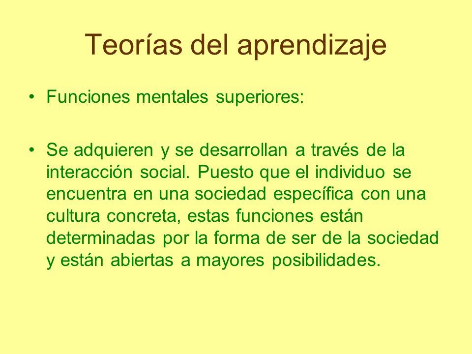 Teorías del aprendizaje Funciones mentales superiores: Se adquieren y se desarrollan a través de la interacción social. Puesto que el individuo se enc