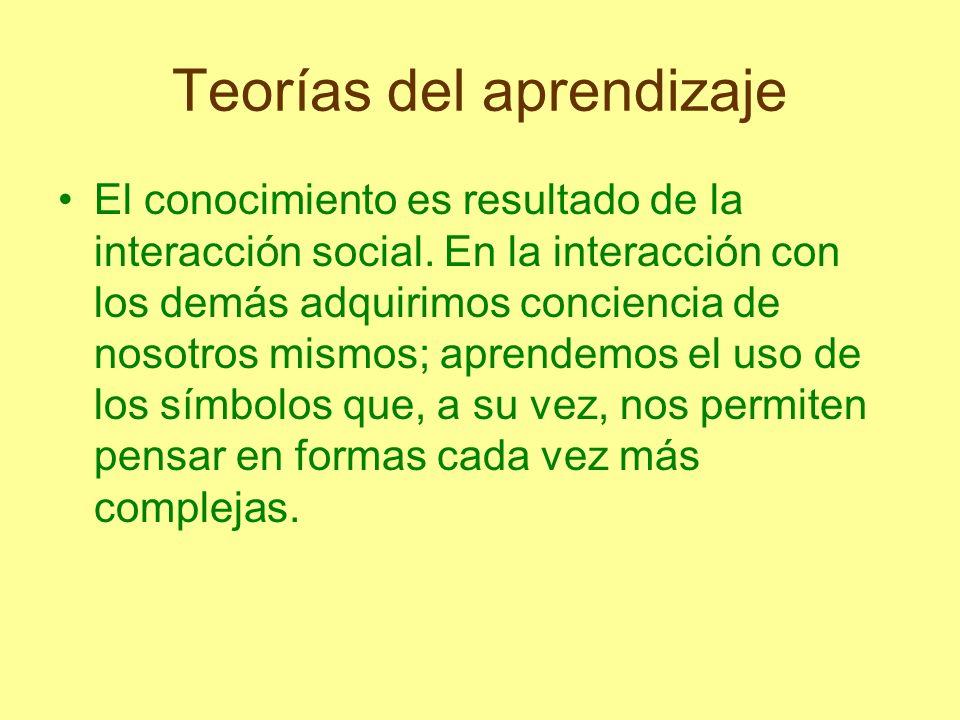 Teorías del aprendizaje El conocimiento es resultado de la interacción social. En la interacción con los demás adquirimos conciencia de nosotros mismo
