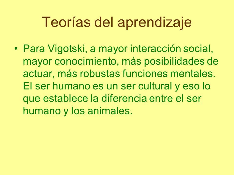 Teorías del aprendizaje Para Vigotski, a mayor interacción social, mayor conocimiento, más posibilidades de actuar, más robustas funciones mentales. E