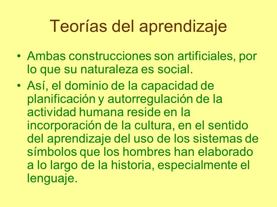Teorías del aprendizaje Ambas construcciones son artificiales, por lo que su naturaleza es social. Así, el dominio de la capacidad de planificación y