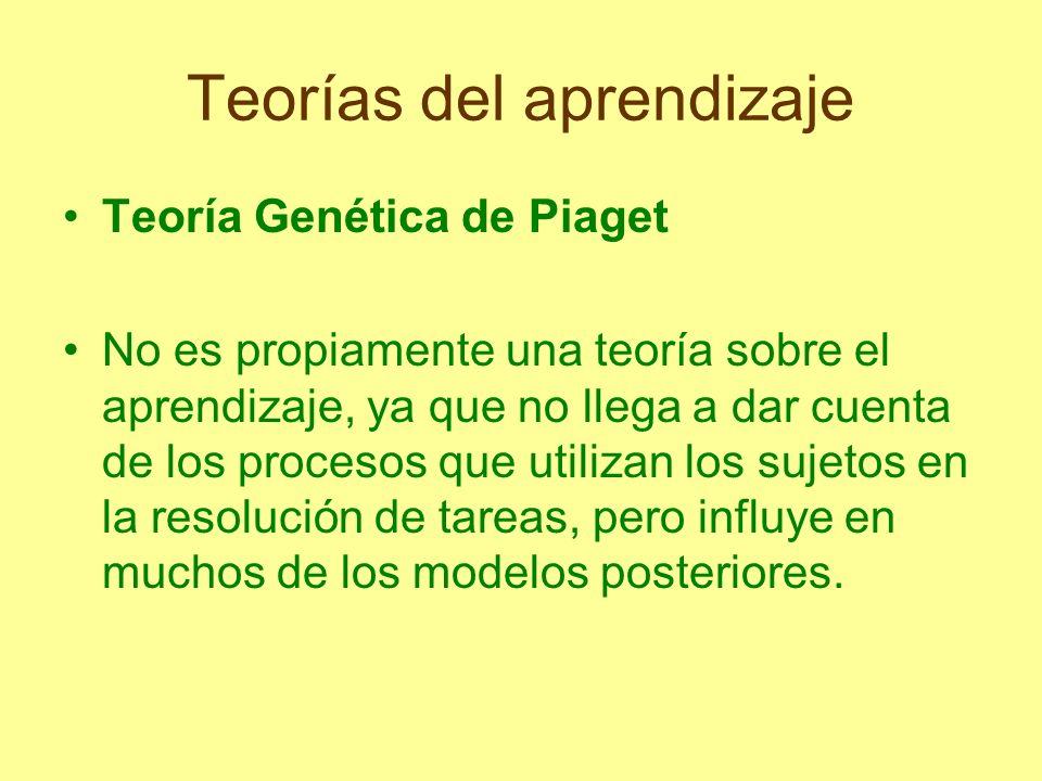 Teorías del aprendizaje Teoría Genética de Piaget No es propiamente una teoría sobre el aprendizaje, ya que no llega a dar cuenta de los procesos que