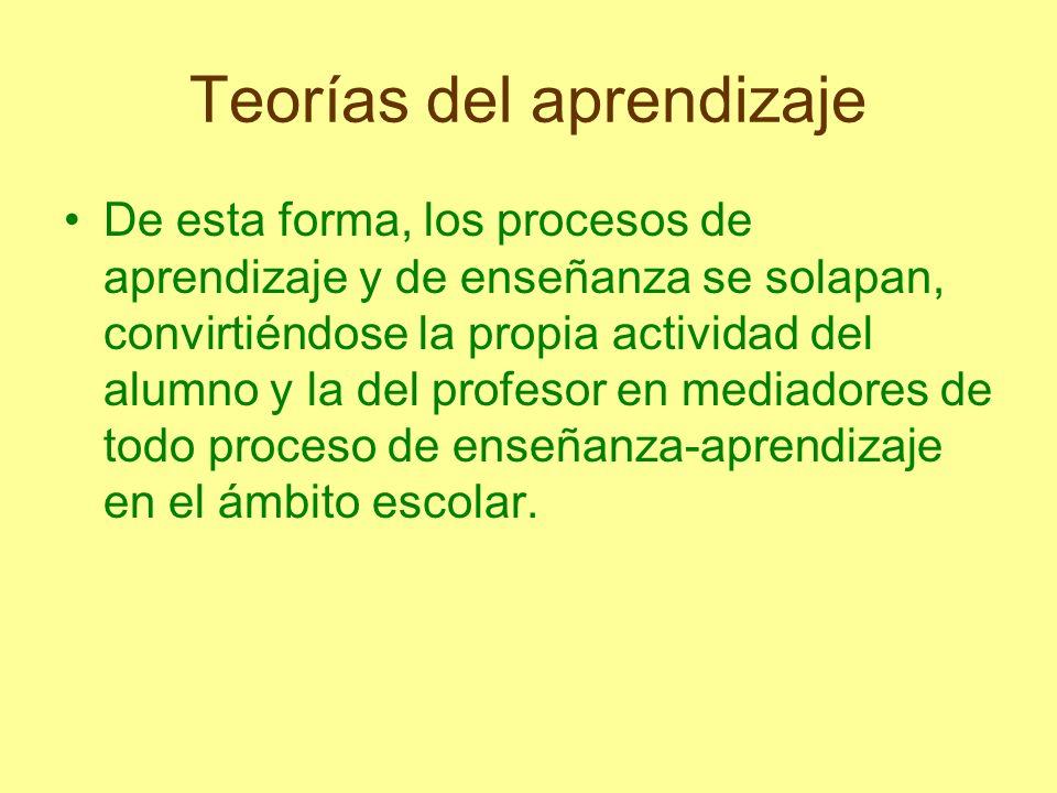 Teorías del aprendizaje De esta forma, los procesos de aprendizaje y de enseñanza se solapan, convirtiéndose la propia actividad del alumno y la del p