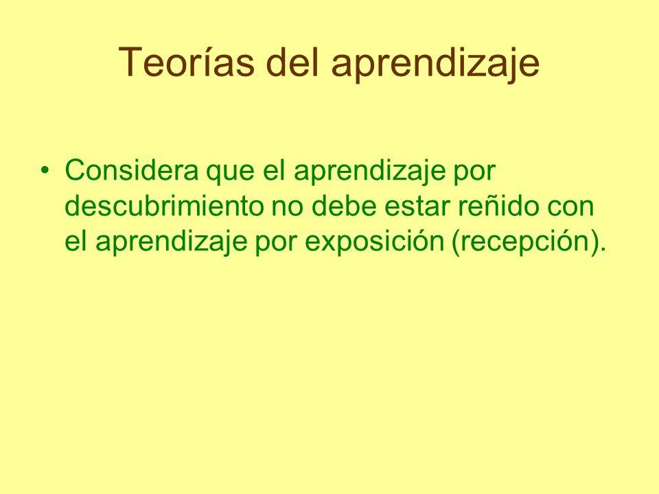 Teorías del aprendizaje Considera que el aprendizaje por descubrimiento no debe estar reñido con el aprendizaje por exposición (recepción).