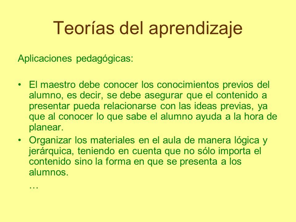 Teorías del aprendizaje Aplicaciones pedagógicas: El maestro debe conocer los conocimientos previos del alumno, es decir, se debe asegurar que el cont