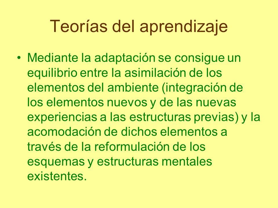 Teorías del aprendizaje Mediante la adaptación se consigue un equilibrio entre la asimilación de los elementos del ambiente (integración de los elemen