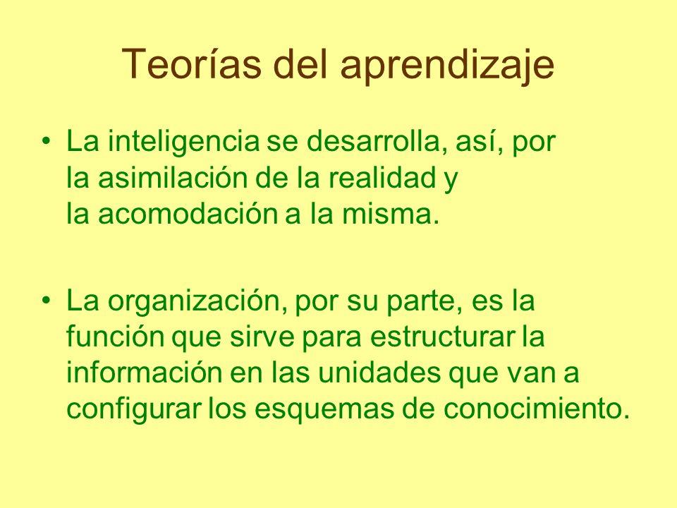 Teorías del aprendizaje Debido a la interacción entre adaptación y organización, en cada momento o estadio del desarrollo del individuo, se origina una determinada estructura intelectual.