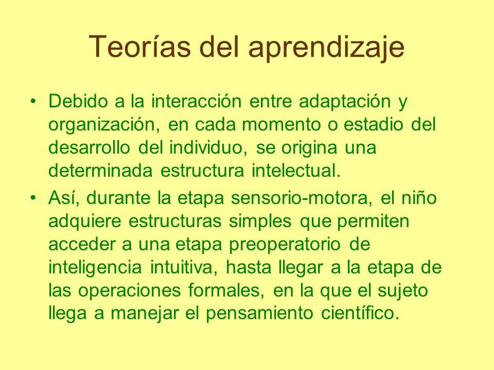 Teorías del aprendizaje Debido a la interacción entre adaptación y organización, en cada momento o estadio del desarrollo del individuo, se origina un