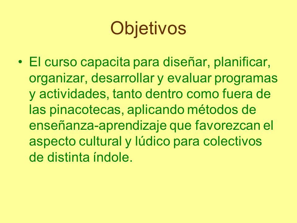 Objetivos El curso capacita para diseñar, planificar, organizar, desarrollar y evaluar programas y actividades, tanto dentro como fuera de las pinacot