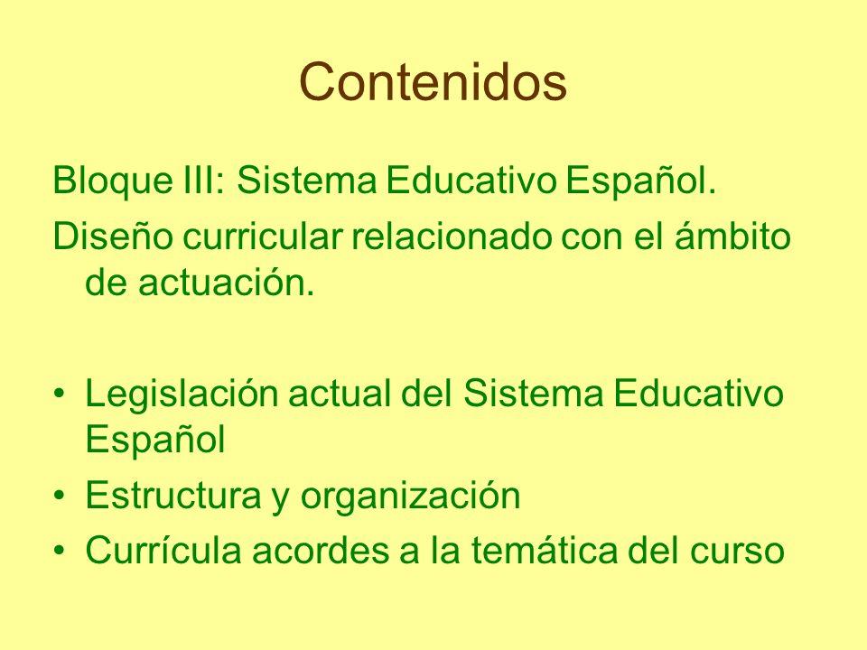 Contenidos Bloque III: Sistema Educativo Español. Diseño curricular relacionado con el ámbito de actuación. Legislación actual del Sistema Educativo E