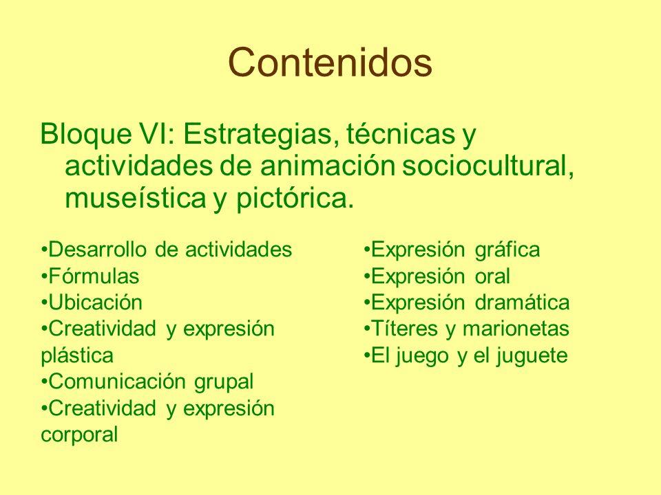 Contenidos Bloque VI: Estrategias, técnicas y actividades de animación sociocultural, museística y pictórica. Desarrollo de actividades Fórmulas Ubica