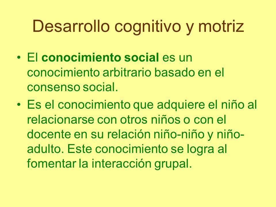 Desarrollo cognitivo y motriz El conocimiento social, puede ser dividido en convencional no convencional