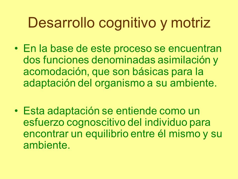 Desarrollo cognitivo y motriz Mediante la asimilación el organismo incorpora información al interior de las estructuras cognitivas a fin de ajustar mejor el conocimiento previo que posee.