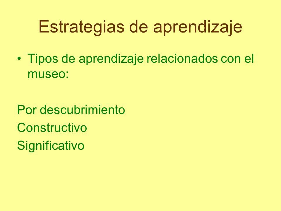 Estrategias de aprendizaje Tipos de aprendizaje relacionados con el museo: Por descubrimiento Constructivo Significativo
