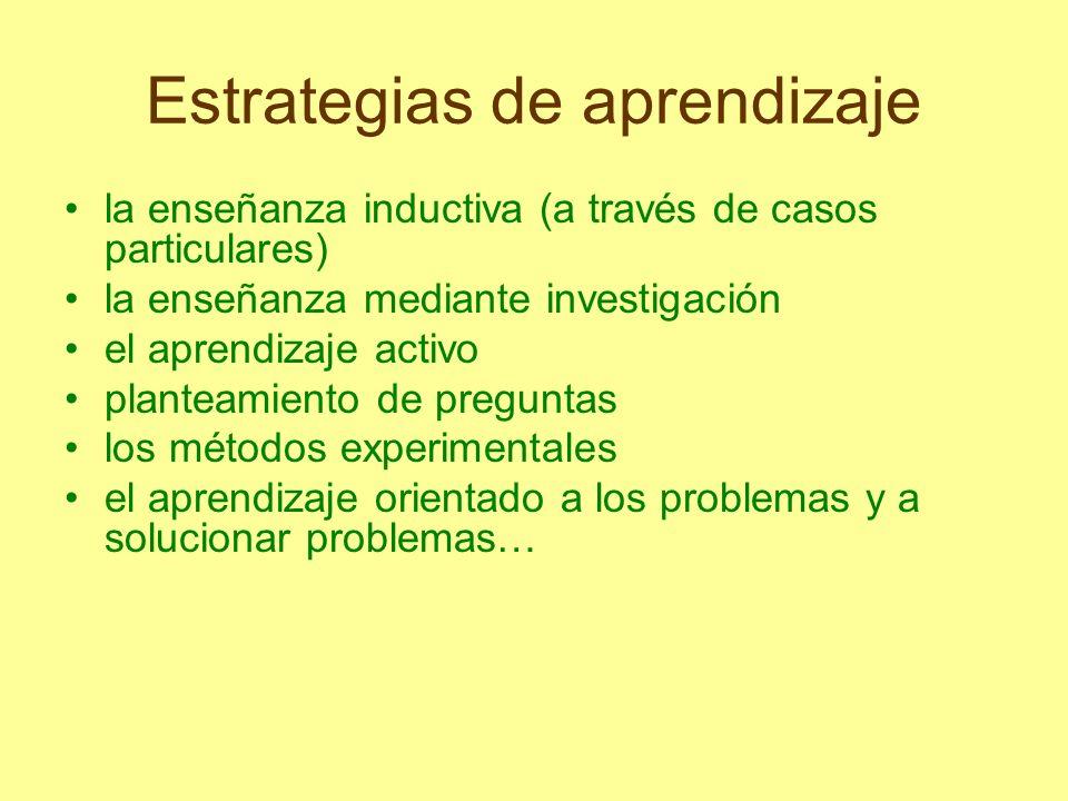 Estrategias de aprendizaje la enseñanza inductiva (a través de casos particulares) la enseñanza mediante investigación el aprendizaje activo planteami