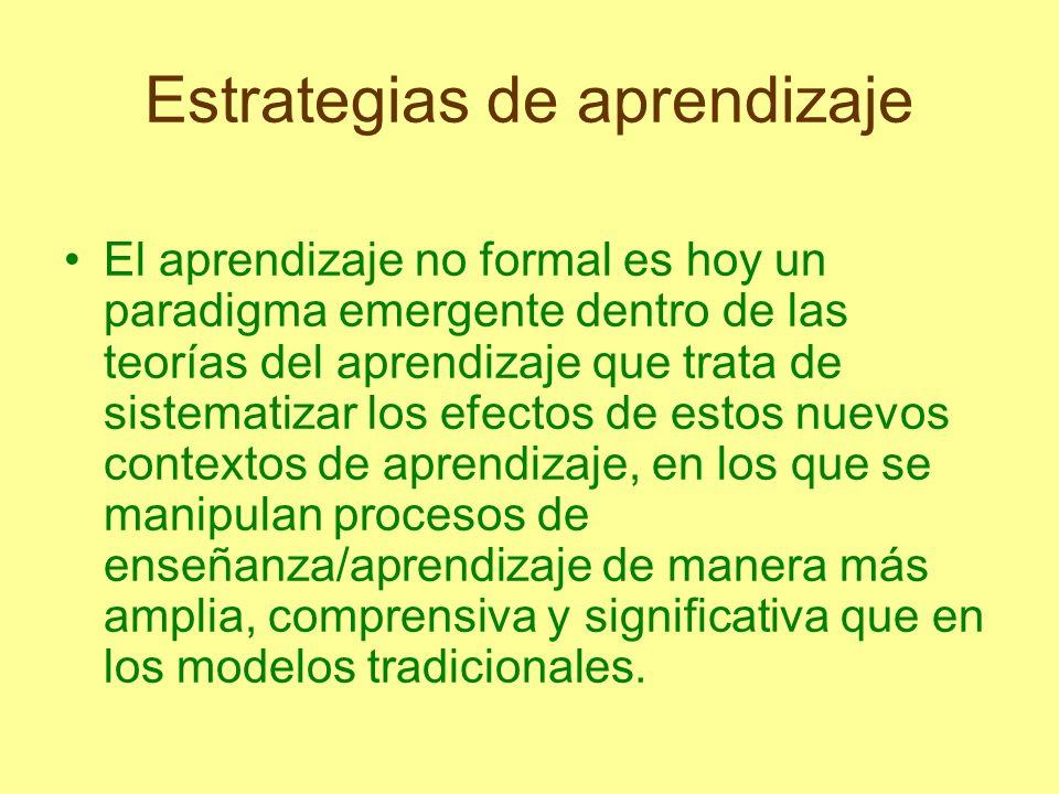 Estrategias de aprendizaje El aprendizaje no formal es hoy un paradigma emergente dentro de las teorías del aprendizaje que trata de sistematizar los