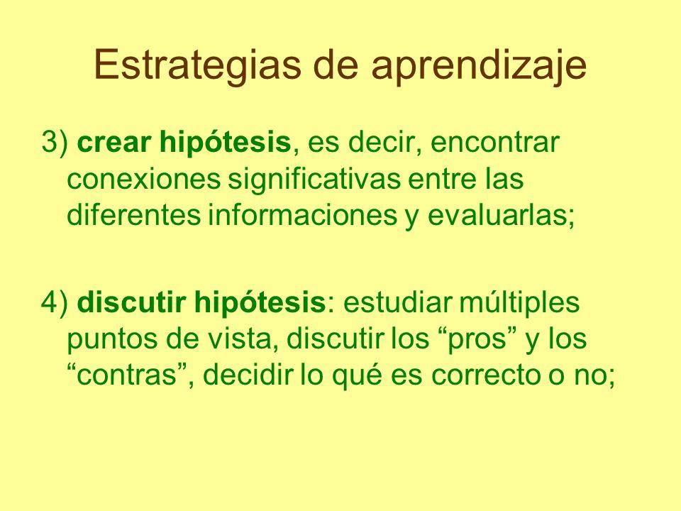 Estrategias de aprendizaje 3) crear hipótesis, es decir, encontrar conexiones significativas entre las diferentes informaciones y evaluarlas; 4) discu