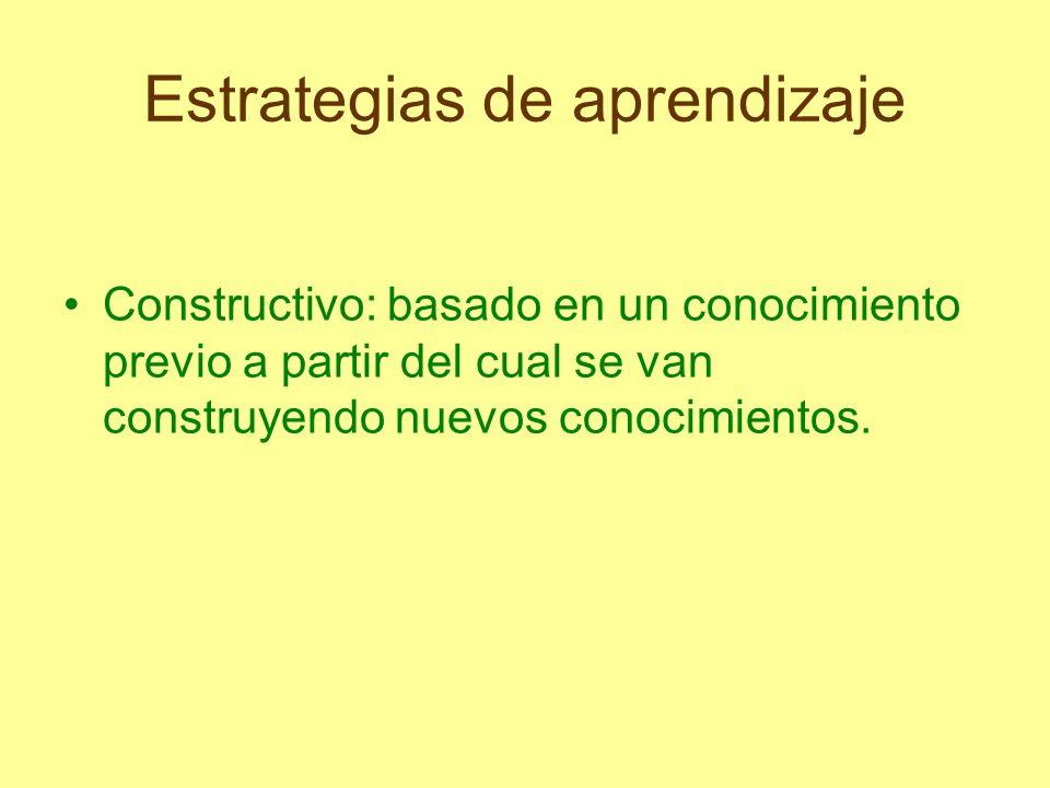Estrategias de aprendizaje Constructivo: basado en un conocimiento previo a partir del cual se van construyendo nuevos conocimientos.