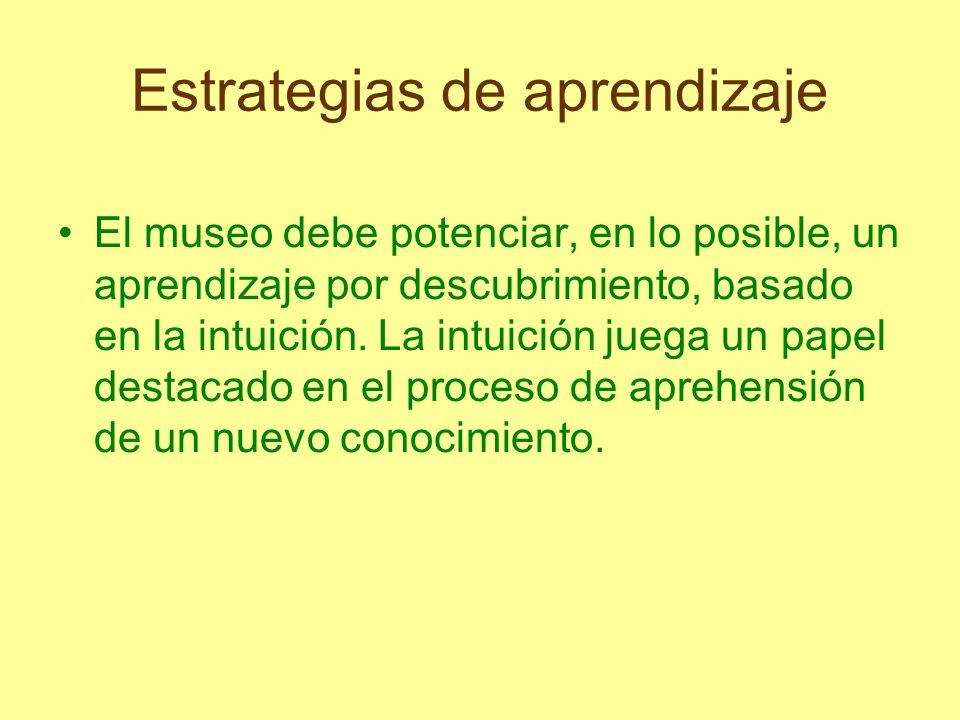 Estrategias de aprendizaje El museo debe potenciar, en lo posible, un aprendizaje por descubrimiento, basado en la intuición. La intuición juega un pa