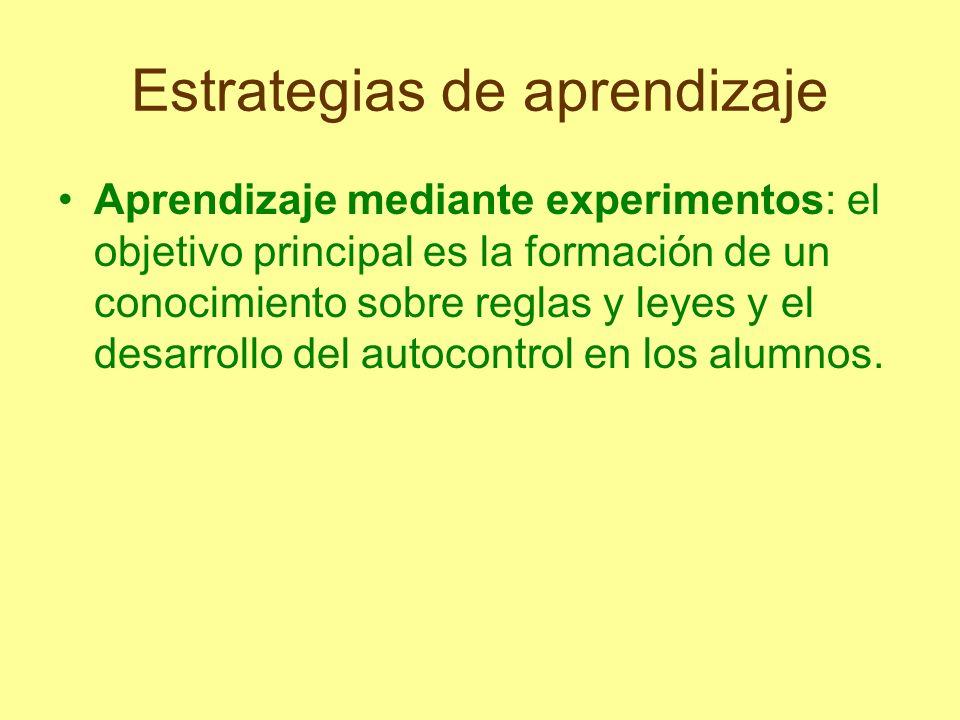 Estrategias de aprendizaje Aprendizaje mediante experimentos: el objetivo principal es la formación de un conocimiento sobre reglas y leyes y el desar