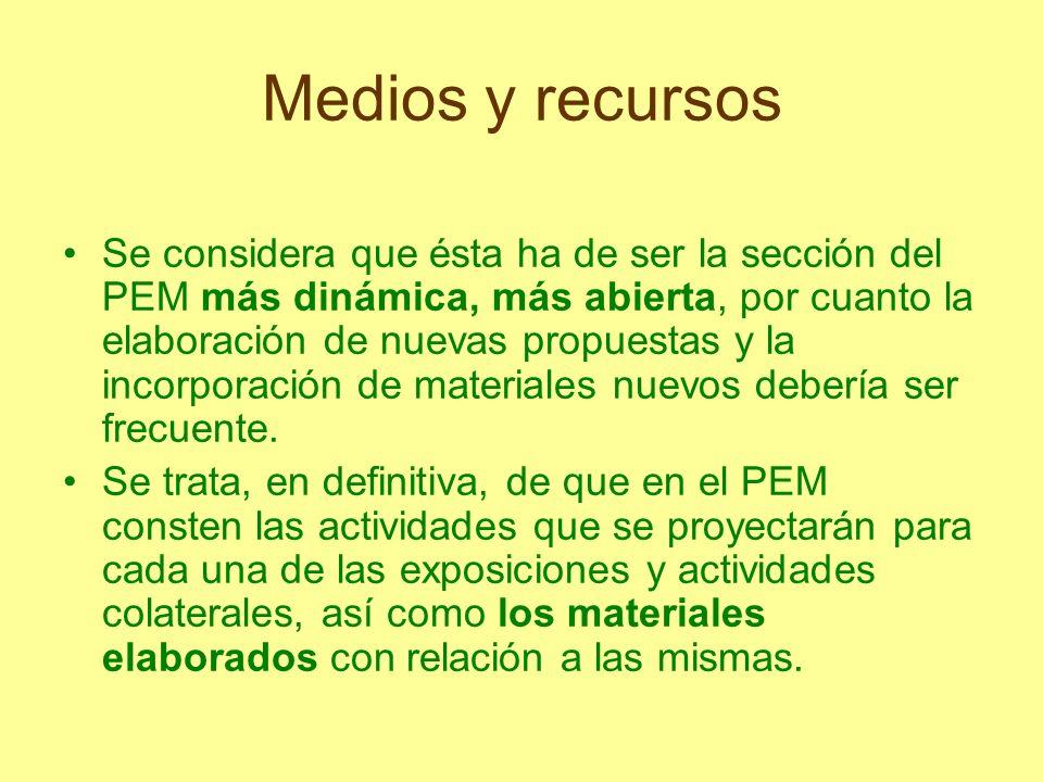 Medios y recursos Se considera que ésta ha de ser la sección del PEM más dinámica, más abierta, por cuanto la elaboración de nuevas propuestas y la in