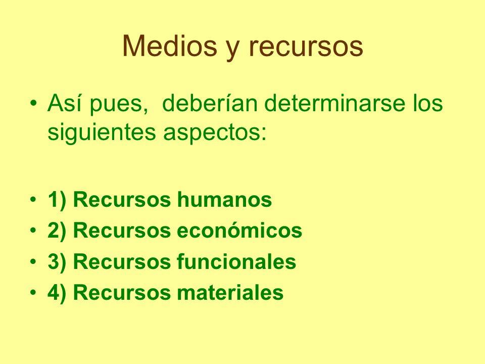Medios y recursos Así pues, deberían determinarse los siguientes aspectos: 1) Recursos humanos 2) Recursos económicos 3) Recursos funcionales 4) Recur