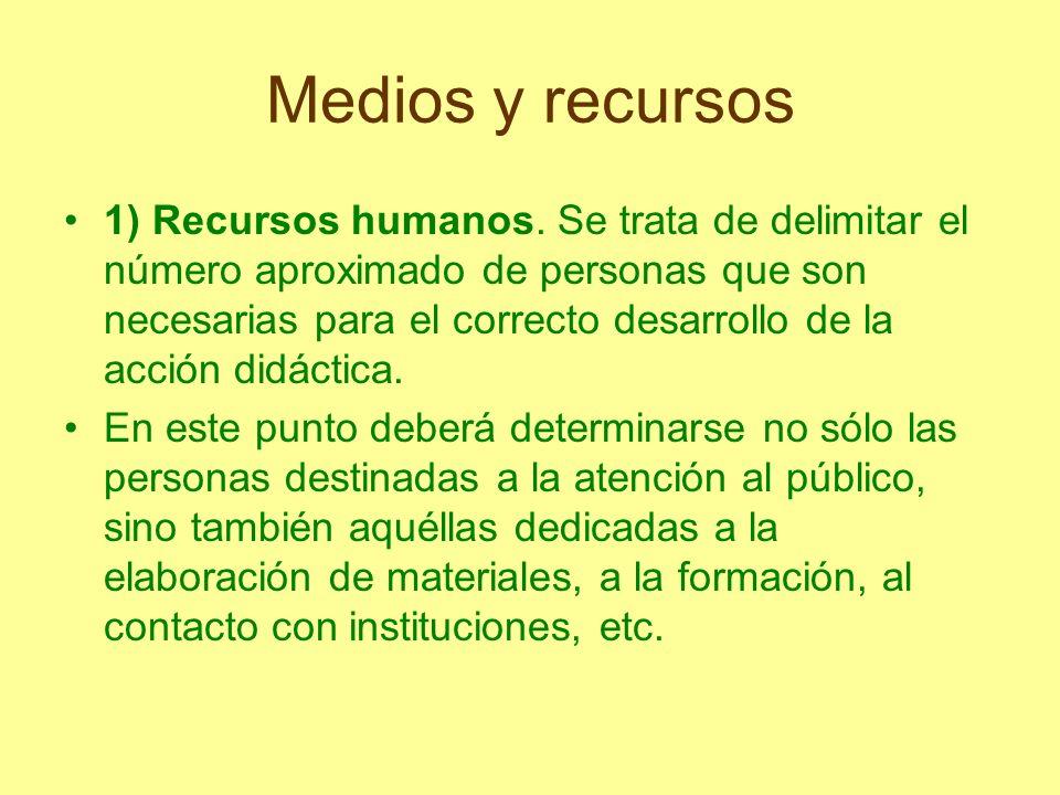 Medios y recursos 1) Recursos humanos. Se trata de delimitar el número aproximado de personas que son necesarias para el correcto desarrollo de la acc