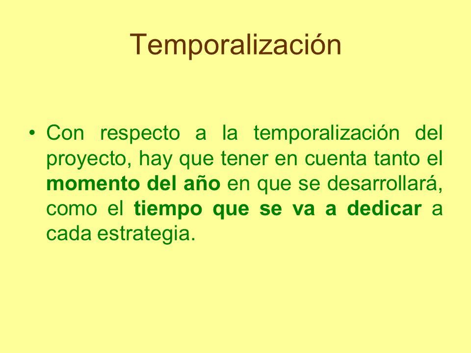 Temporalización Con respecto a la temporalización del proyecto, hay que tener en cuenta tanto el momento del año en que se desarrollará, como el tiemp