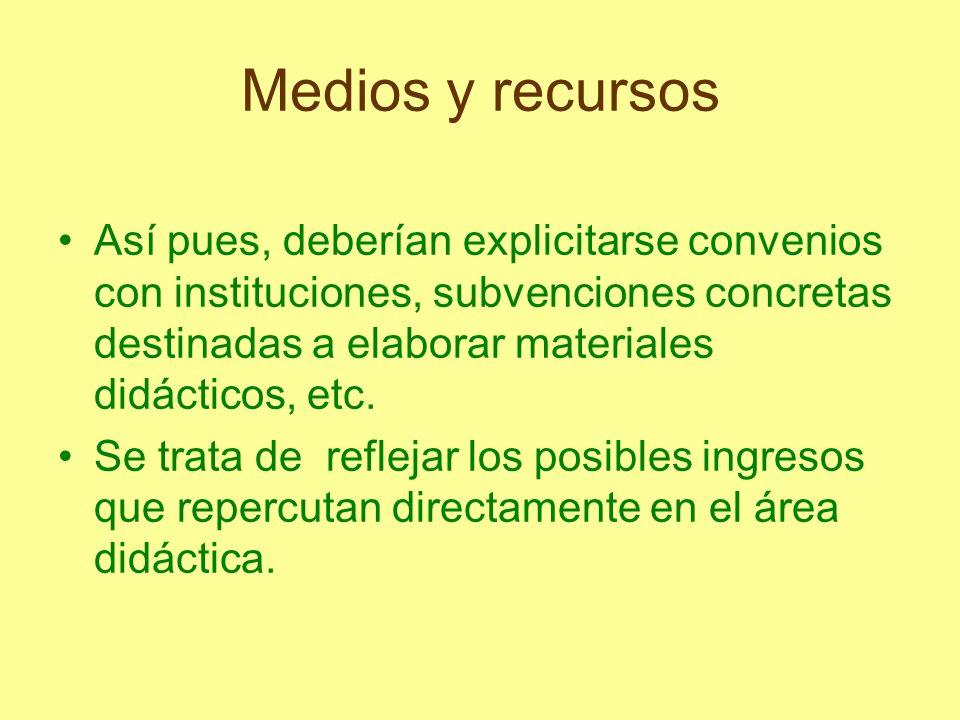 Medios y recursos Así pues, deberían explicitarse convenios con instituciones, subvenciones concretas destinadas a elaborar materiales didácticos, etc