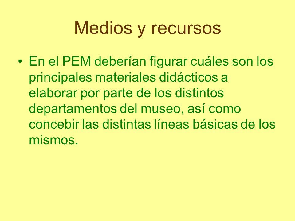 Medios y recursos En el PEM deberían figurar cuáles son los principales materiales didácticos a elaborar por parte de los distintos departamentos del