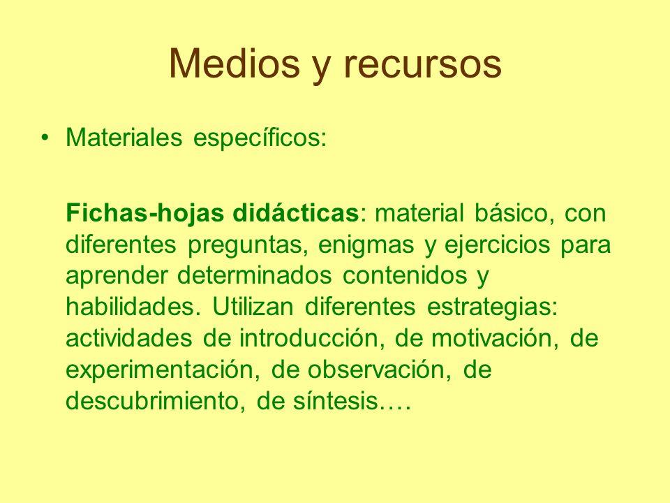 Medios y recursos Materiales específicos: Fichas-hojas didácticas: material básico, con diferentes preguntas, enigmas y ejercicios para aprender deter