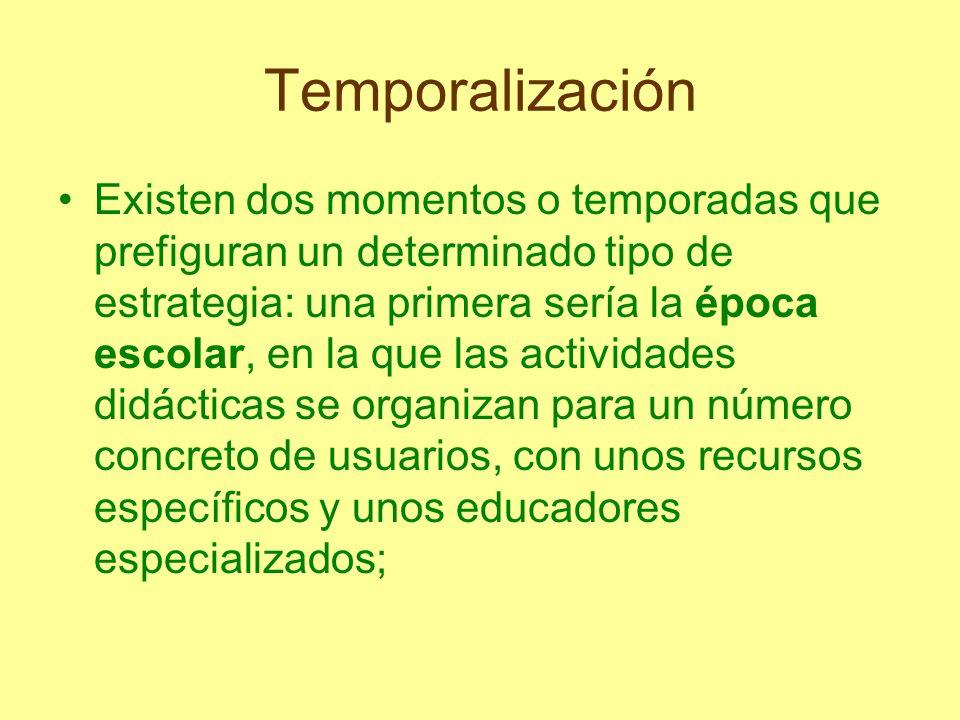 Temporalización Existen dos momentos o temporadas que prefiguran un determinado tipo de estrategia: una primera sería la época escolar, en la que las