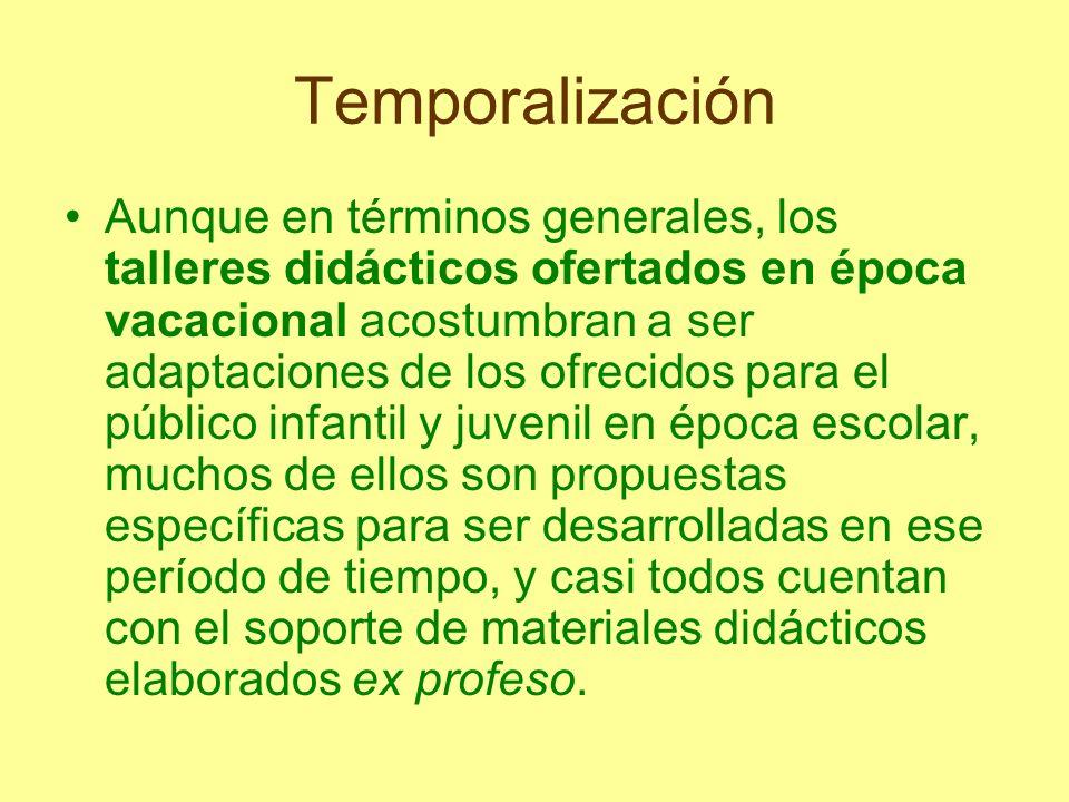 Temporalización Aunque en términos generales, los talleres didácticos ofertados en época vacacional acostumbran a ser adaptaciones de los ofrecidos pa