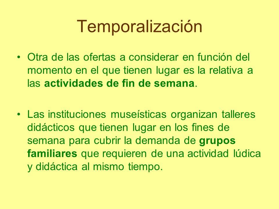 Temporalización Otra de las ofertas a considerar en función del momento en el que tienen lugar es la relativa a las actividades de fin de semana. Las