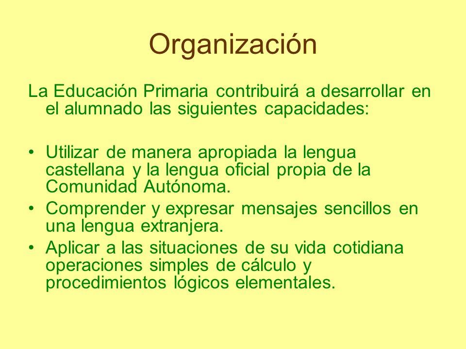 Organización La Educación Primaria contribuirá a desarrollar en el alumnado las siguientes capacidades: Utilizar de manera apropiada la lengua castell
