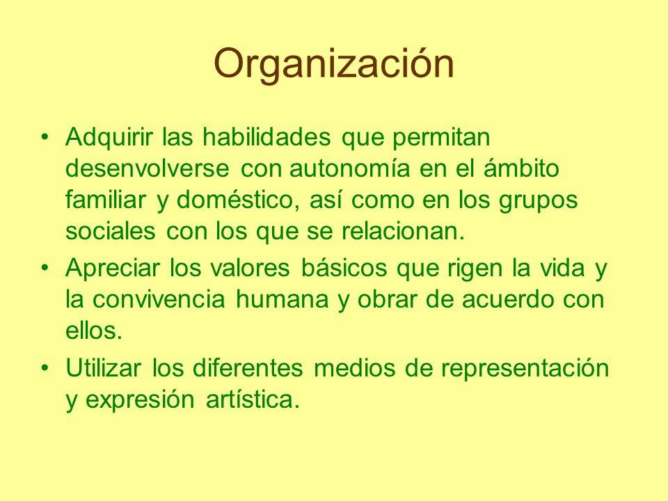 Organización Adquirir las habilidades que permitan desenvolverse con autonomía en el ámbito familiar y doméstico, así como en los grupos sociales con