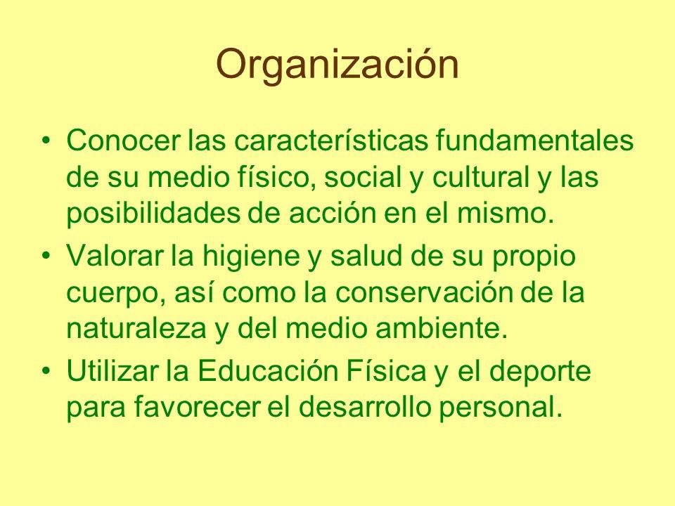 Organización Conocer las características fundamentales de su medio físico, social y cultural y las posibilidades de acción en el mismo. Valorar la hig