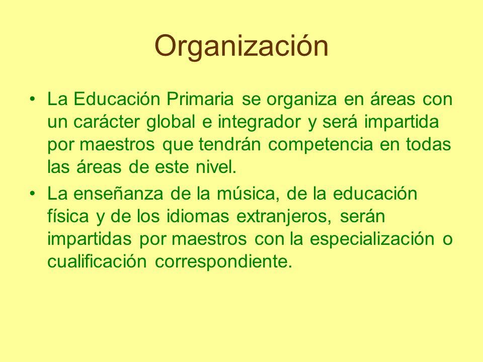 Organización La Educación Primaria se organiza en áreas con un carácter global e integrador y será impartida por maestros que tendrán competencia en t