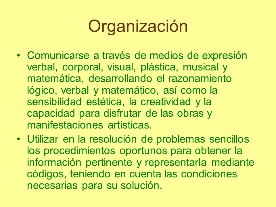 Organización Comunicarse a través de medios de expresión verbal, corporal, visual, plástica, musical y matemática, desarrollando el razonamiento lógic