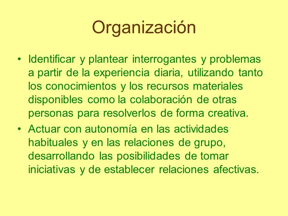 Organización Identificar y plantear interrogantes y problemas a partir de la experiencia diaria, utilizando tanto los conocimientos y los recursos mat