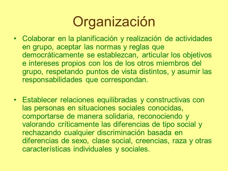 Organización Colaborar en la planificación y realización de actividades en grupo, aceptar las normas y reglas que democráticamente se establezcan, art