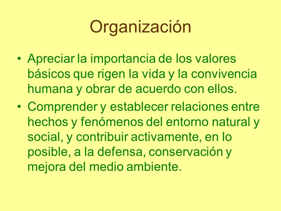 Organización Apreciar la importancia de los valores básicos que rigen la vida y la convivencia humana y obrar de acuerdo con ellos. Comprender y estab