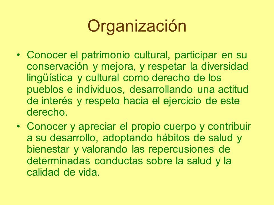 Organización Conocer el patrimonio cultural, participar en su conservación y mejora, y respetar la diversidad lingüística y cultural como derecho de l